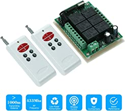 KKmoon 433Mhz DC 12V 6CH Channel Universal 10A Relay Wireless RF Remote Control Switch Receiver Module and 2PCS 6 Key RF 433 Mhz Transmitter Fixed Code (2262 Chip)