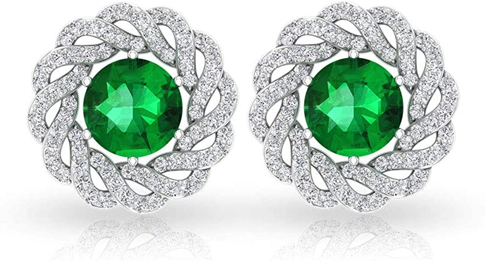 2.17 CT Solitaire Green Stone Color IDCL Certified Moissanite Earring, Gold Swirl Gemstone Bridal Wedding Halo Earring, Twisted Birthday Earring Gifts, Screw back