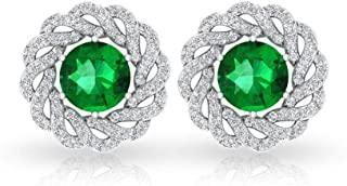 2.17 CT Solitaire Green Stone Color IDCL Certified Moissanite Earring, Gold Swirl Gemstone Bridal Wedding Halo Earring, Tw...