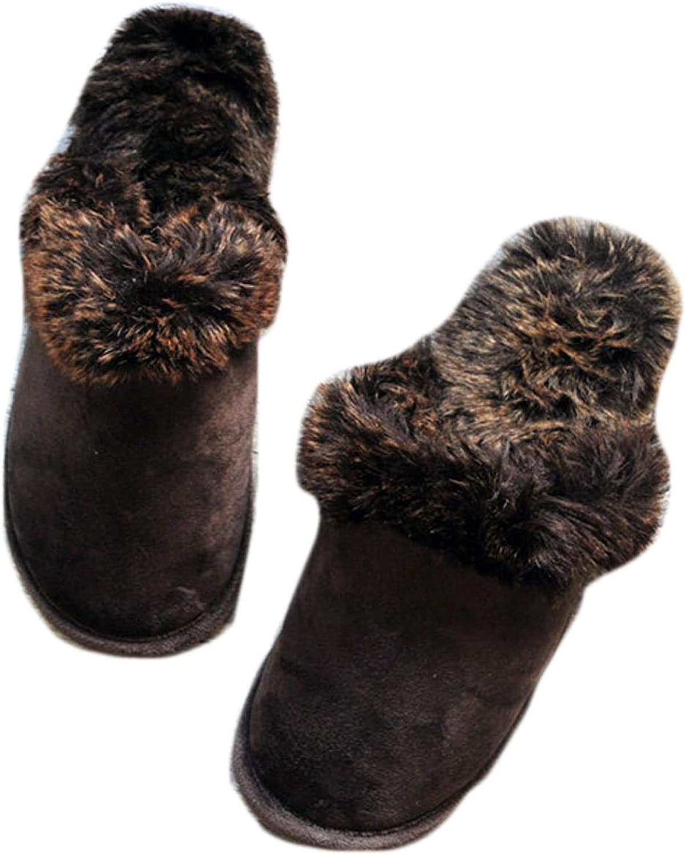 Women's unisex couple slippers warm furry home shoes leopard print