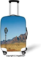 AngelDOU Durable Elastic Suitcase Luggage Protective Cover Windmill Decor Flinders Ranges South Australia Mountains Barren Land Summer Decorative Earth Yellow Light Blue Trolley Dust Rain Bags Accesso