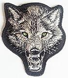 b2see Aufnäher Patches für Jacken Jeans Kleidung Bügelbilder Flicken Stoff Patch Kleider Aufnäher Patches Aufbügler zum Aufbügeln 7,6 x 7 cm Tier Aufnäher Wolf