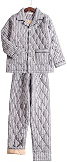 Nightwear Pajamas Men's Thick Autumn And Winter Pajamas Home Cotton Home Wear Men's Warm Pajamas Set (Color : Off-white, S...