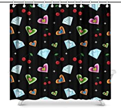 Banana Kissing Lips Rainbow Lipstick and Pink Heart Home Decor Waterproof Polyester Fabric Shower Curtain Bathroom Sets wi...