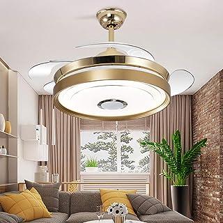 ZHANGY Ventilador de Techo de 42 Inch con luz 4 aspas retráctiles Ventiladores de Techo LED 3 Colores 6 velocidades con Control Remoto, con Altavoz Bluetooth