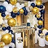 Ballonbogen Girlande Set Marineblau und Weiß Luftballons Metallic Gold und Konfetti Luftballons 110 Stück Luftballons Packung für Jungen Babyparty Geburtstag Party Tafelaufsatz Hintergrund Dekoration