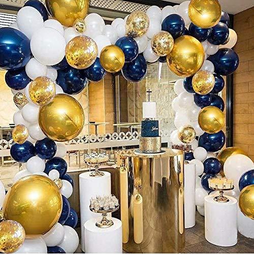 Kit de guirnaldas con arco para globos, azul marino y blanco Globos, paquete de globos de 110 piezas para ducha de cumpleaños, fiesta de cumpleaños, decoraciones de fondo