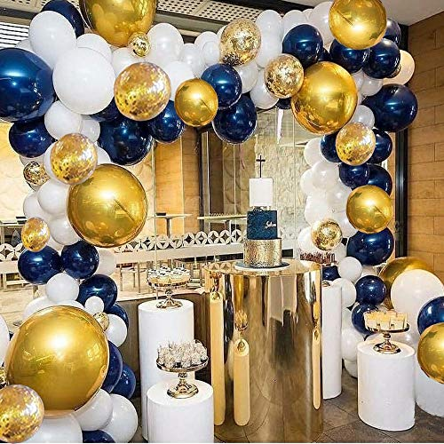 Balloon Arch Garland Kit Navy Blue and White Balloons Metallic Gold and Confetti Balloons 110 Pcs Balloons Pack for Boy Baby Shower Birthday Party Centerpiece Backdrop Background Decorations