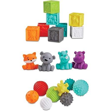 Infantino Sensory Balls Blocks & Buddies - Coffret de 20 pièces multi texturées pour le développement des sens et de la motricité & l'introduction aux couleurs, aux nombres, au comptage et au tri