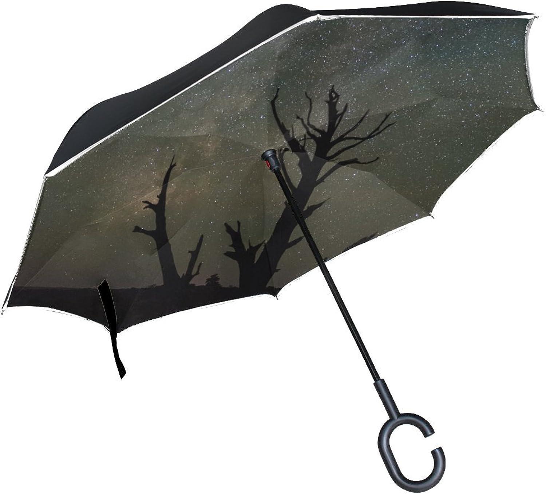Rh Studio Ingreened Umbrella Starry Sky Trees Silhouettes Large Double Layer Outdoor Rain Sun Car Reversible Umbrella