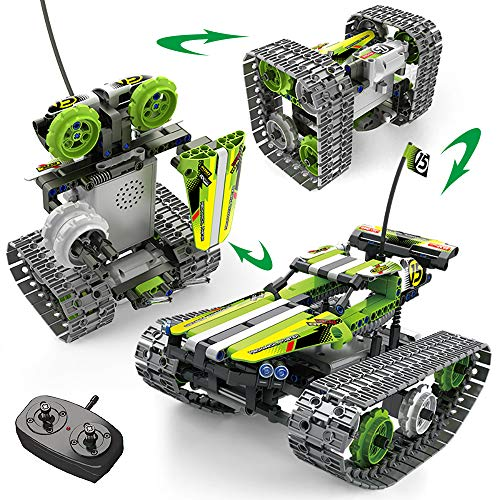 Nuduoki 3-in-1 STEM Building Toys Remote Control Building Kits 392PCS Engineering Set 2.4Ghz Rechargeable Tracked Racer RC Car/Tank/Robot Learning Toy Gift Set for 8-12 Year Old Boys and Girls (Green)
