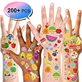 Konsait Temporary Tattoo for Kids, Fake Waterproof Tattoo Stickers for Girls Boys Monsters Fruits Tattoos Cartoon Summer Tattoos Birthday Party Decorations Supplies Party Favors,200+pcs