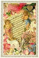 Rakka ヴィクトリアン エンジェル ポストカード同柄6枚セット ヴィンテージ キューピット カード オリジナルカード 天使 葉書 文房具 オフィス用品 封筒 はがき レター用品 ポストカード 絵柄付はがき Rakka RV04