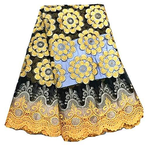 Afrikaanse kant stof Afrikaanse Lace Stoffen Borduren Bloemen Tulle Lace Mix Cord Lace met steentjes for de jurk Naaibenodigdheden (Color : Yellow, Size : 5 yards)