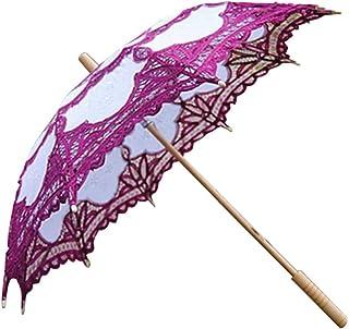 方朝日スポーツ用品店 ウェディングレース日UVパラソルプリンセススタイル傘3Dフラワー刺繍傘ウエディングデコレーション30インチパープル (Color : Purple)