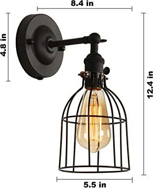XIDING Premium Industrial Edison Antique Simplicity Wire Cage Wall Sconces Lighting Fixtures, Upgrade Black Finish Wall Lamp,