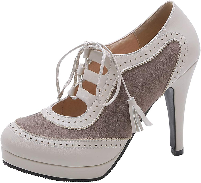 SaraIris Vintage Brogue Lace Up Dress Oxfords shoes Chunky High Heels Womens Pumps