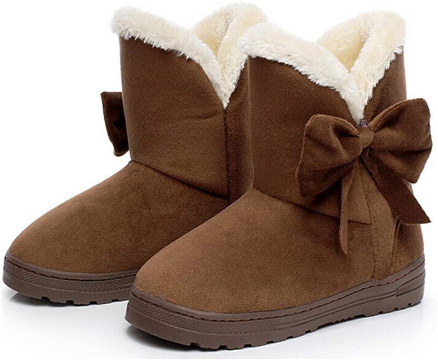 Wallhewb Snow Boots Winter Ankle Boots for Women Warmer Plush Bowtie Fur Suede Rubber Flat Slip On Fashion Platform Ladies shoes Non-Slip On Sale Untiskid Rubber Sole Coffee 5 M US Ankle Boots
