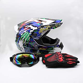 SD&ZC Youth Kids Offroad Gear Combo Helmet Gloves Goggles DOT Motocross Off-Road Racing ATV Dirt Bike Protector (#2, M)