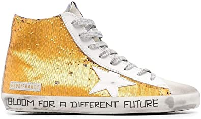 Golden Goose Luxury Fashion Uomo GMF00113F00112175106 Arancione Pelle Hi Top Sneakers | Ss21