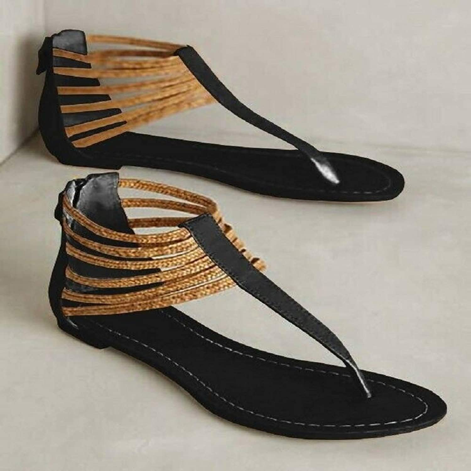 Tswsq Roman Sandals Lady's shoes Summer Beach Loafers Flip Flops Plus Size Flats New Black
