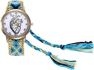 Dilwe - Reloj de Pulsera para Mujer, con Funda de Lana y Correa y Correa Coloridas