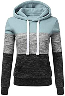 UpBeauty Women Sweatshirt Patchwork Long Sleeve Hooded Pullover with Front Pocket Casual Fashion Hoodies