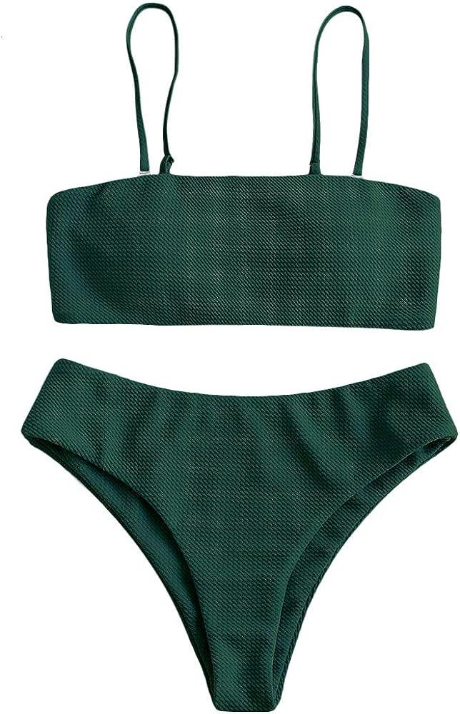 ZAFUL Bikini Removable Straps Bandeau Two Piece Bathing Suits for Women