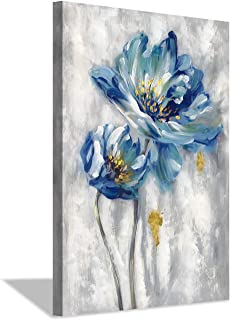 Blue Floral Canvas Wall Art: Abstract Flower Picture Artwork Hand Painted Painting for Wall (36'' x 24'' x 1 Panel)