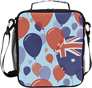 VAMIX Australia National Day Flat Seamless Pattern Lunch Box Insulated Lunch Thermal Cooler Bag Tote Freshness Bags Adjustable Shoulder Strap for School Office