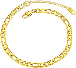 Women Anklet Chain 18K Gold Plated Men Figaro Ankle Chain