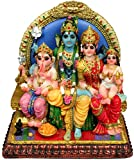 "Attractive Siva Family Statue 6.5"" Shiva, Parvati, Ganesh, and Kartikeya Idol"