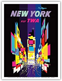 New York - Times Square - Trans World Airlines Fly TWA - Vintage Airline Travel Poster by David Klein - Master Art Print - 9in x 12in