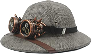 PengCheng Pang 2019 Steampunk Glasses Toquilla Straw Helmet Pith Sun Hats for Men Vietnam War Army Hat Dad Boater Bucket Hats Safari Jungle Miners Cap (Color : Gray, Size : 57-58cm)