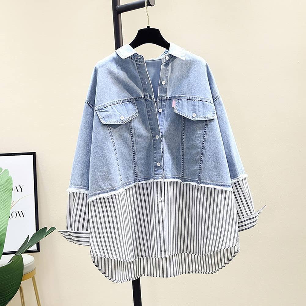 ZZABC sold out NVDDSH Fake Two Turn Down Full Shirt Denim Super special price Autumn Collar L