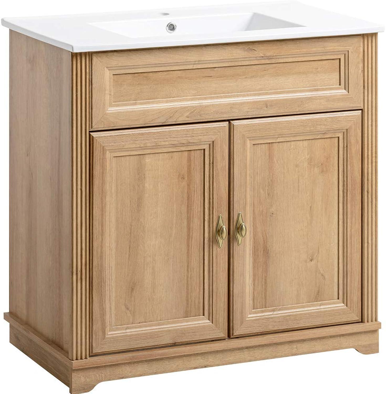 Lomadox Badmbel Einzel Waschplatz ● 80cm Waschtisch-Unterschrank inkl Keramikwaschbecken ● Holzoptik Eiche Nb. ● Holzoptik Eiche Nb. ● 2 Türen, 1 Einlegeboden