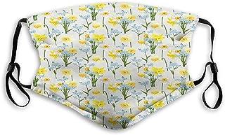 Återanvändbar andningsbar tygmask balaklava bandana, påskliljor, glöm mig inte blommor och lilja blomblad bukett vår, vind...