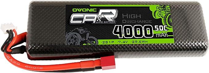 20 opinioni per OVONIC Batteria 2S LiPo 4000mAh 50C 7.4V LiPo con Deans T-Style per 1/8 RC Car