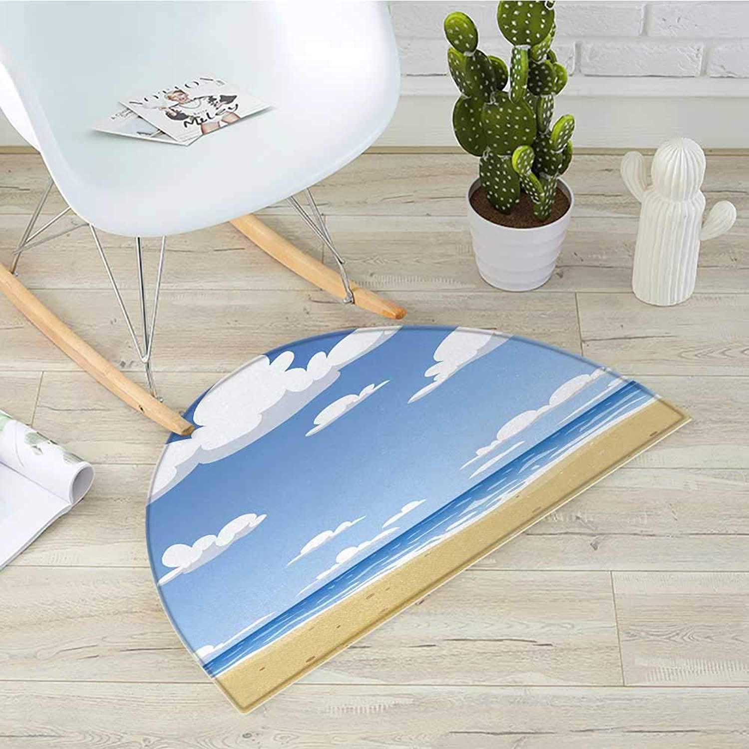 Beach Semicircle Doormat Cartoon Style Beach Pattern with Clouds Ocean and Seagull in Sky Pattern Halfmoon doormats H 31.5  xD 47.2  bluee White Sand Brown