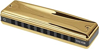 Suzuki MR-350VG-B Promaster Valved Gold Deluxe 10-Hole Diatonic Harmonica, Key of B