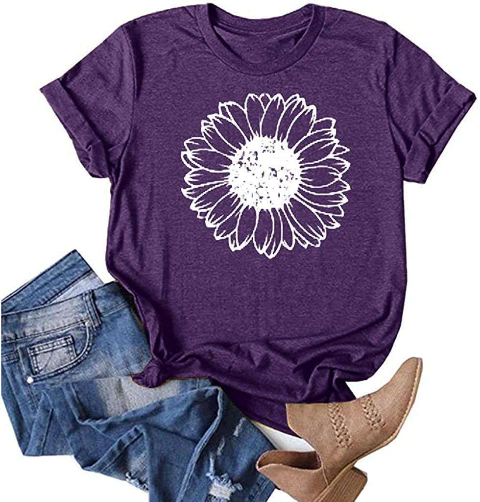 Women Casual Short Sleeves O-Neck Loose T-Shirt Blouse Tops Dandelion Print Tee Top