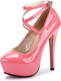 552b0b580220be OCHENTA Femme Escarpins Bride Cheville Sexy Talon Aiguille Plateforme Epais  Fermeture Lacets Chaussures Club Soiree