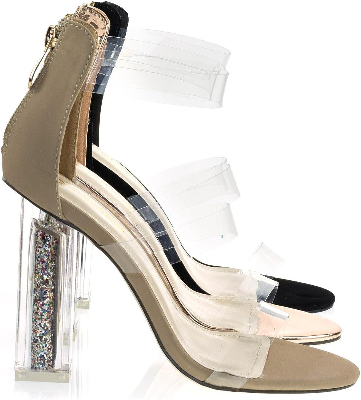 X2B Static Footwear Clear See Through Perspex Block Heel Dress Sandal W Glitter Plexiglas