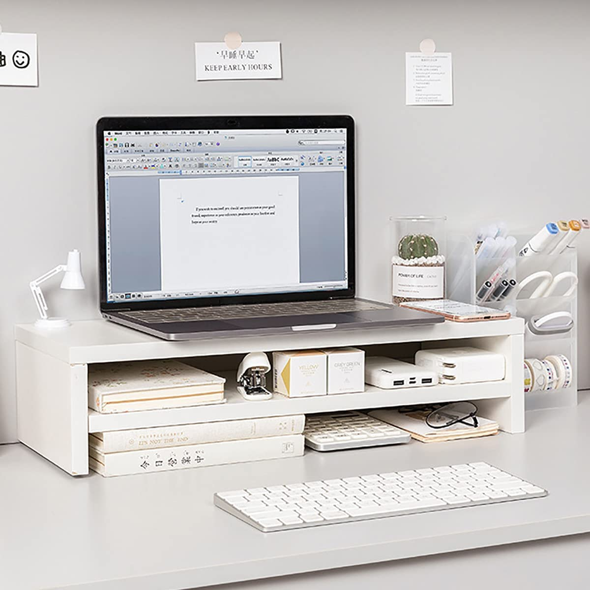 Monitor Stand Riser, 2 Tiers Wood Monitor Riser Stand, Desktop Ergonomic Monitor Stand Riser for Computer, Notebook, Printer Holder White(19.49x7.87x4.72 inch)