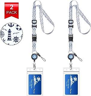 عدد 2 من الحبال البحرية القابلة للتعديل لحمل بطاقة الهوية الشخصية - عدد 2 حبل قصير مع حاملي لبطاقة الهوية الخاصة بسفينة ال...