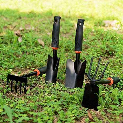 Yafei Gardening Tools Set, 7 Piece Cast- Duty Gardening Kit Includes Hand Trowel, Transplant Trowel and Cultivator Hand Rake with Soft Rubberized Non-Slip Ergonomic Handle, Garden Gifts