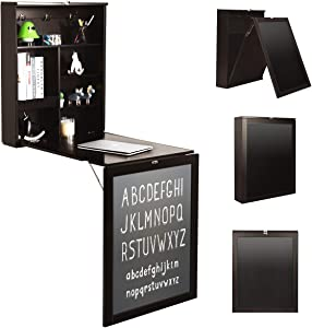 Tangkula Wall Mounted Table, Fold Out Convertible Desk with A Chalkboard, Multi-Function Computer Writing Floating Desk, Home Office Wood Wall Hanging Desk (Espresso)