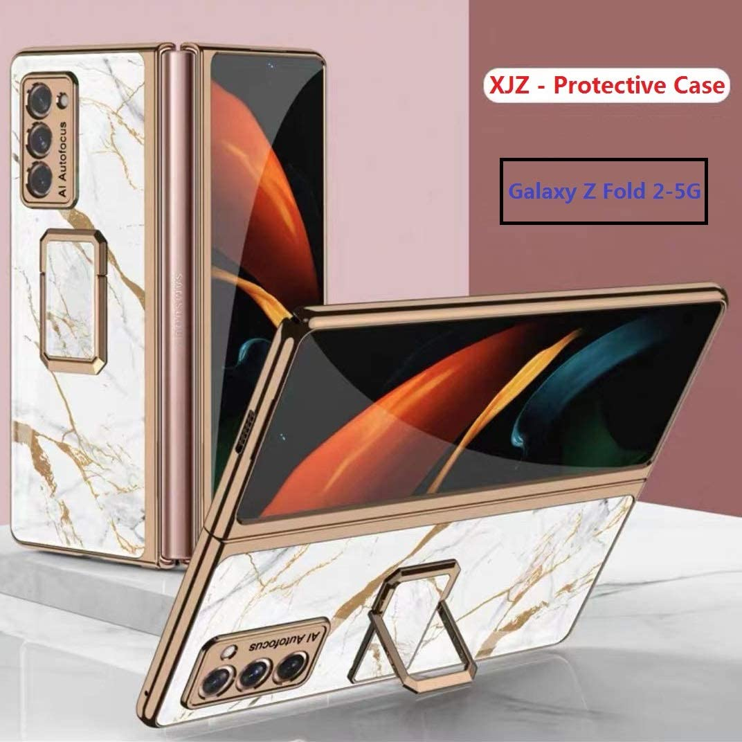 2020 XJZ Compatible with Samsung Galaxy Z Fold 2-5G Smartphone Case +3D Tempered Glass Screen Protectors//Cover 360 Full Body Military-Grade Anti-Drop Bumper Protective Mobile Case with Kickstand-7