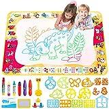 Wasser Doodle Matte 100*70cm, zinuo Aqua Magic Doodle Matte Kinder Zeichentafeln Zeichnung Malmatte mit Magic Stifte Wasserstift Stempelset Kinderspielzeug Lernspielzeug Geschenk für Jungen Mädchen