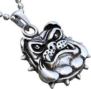 Bulldog Dog Jack Georgetown Marines corps Pewter Pendant Necklace Charm Amulet w Silver Ball Chain
